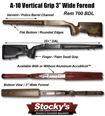 """Stocky's® A10 EXT - Extreme Range Target / Tactical Remington 700™ SA or LA - 3"""" Forend"""