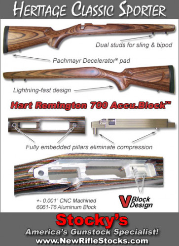 Bobby Hart AccuBlock Heritage Classic  Remington 700 BDL Laminated Sporter Riflestocks WITH ALUMINUM BEDDING BLOCK