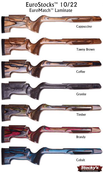 Stocky's® EuroMatch™ Designed For Ruger® 10/22® Adjustable Cheekpiece Laminated Stock - .920 Bull Barrel