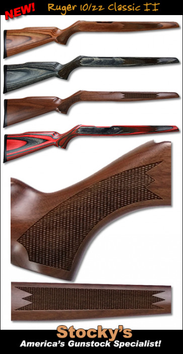 *NEW!* Ruger 10/22 Classic II Rimfire Stock - Walnut & Laminated Stocks - .920 Bull & FBC - Gloss or Satin Finish