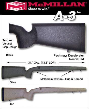 McMillan A3 Edge Varmint / Tactical Ultralight CARBON FIBER Stock
