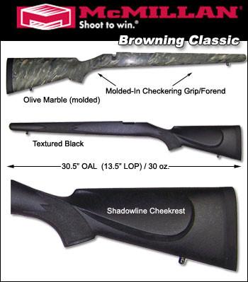 McMillan Browning A-Bolt / BBR / Safari Classic Model Fiberglass Stock