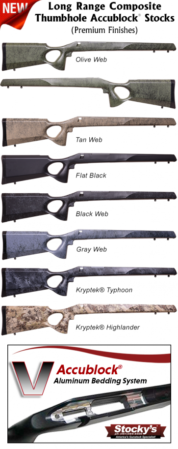 Stocky's® Long Range Composite Thumbhole Stock (LRC™ Thumbhole Accublock®) - Remington 700™ - NEW Premium Finishes