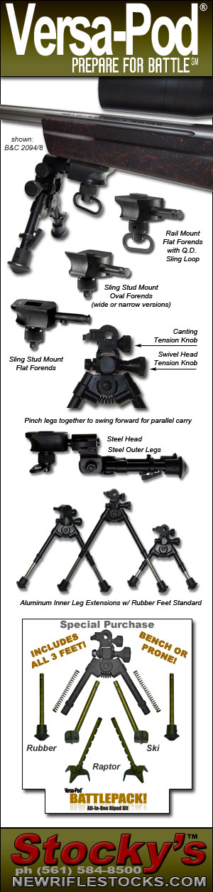 New! VersaPod Steel Modular Bipod System Fits All Forends - Flat (2094, 2092), Varmint (LRV, PST025) & Sporting