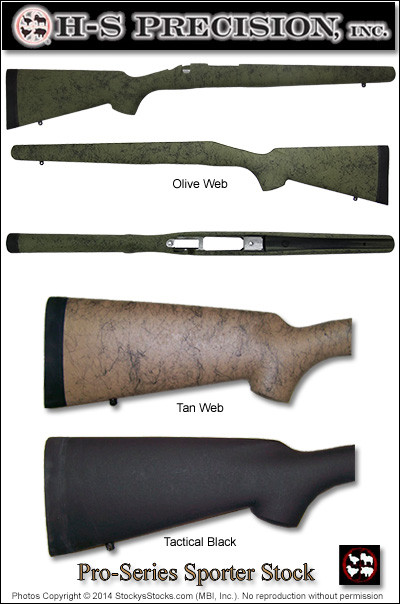 H-S Precision® Pro-Series 2000 Sporter Stocks - Remington 700™ ADL BDL  Right and Left Hand, Weatherby® Vanguard® PSS 001 003 009 010 016 108 138
