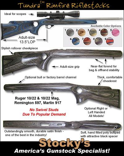 tundra rimfire thumbhole designed for remington 597 ruger 10 22