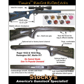 Tundra Rimfire Thumbhole Stocks - Remington 597, Ruger 10/22, Marlin 917 - Right & Left Hand / Standard & Magnum / Bull & Standard Barrels