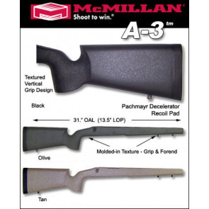 McMillan A3 Edge Varmint / Tactical Ultralight CARBON FIBER Stock