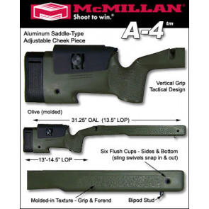 McMillan A4 Adjustable U.S.M.C. Battlefield Fiberglass Stock