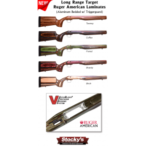 Long Range Target / Tactical  (LRT) Aluminum AccuBlock® Bedded Ruger American Stocks