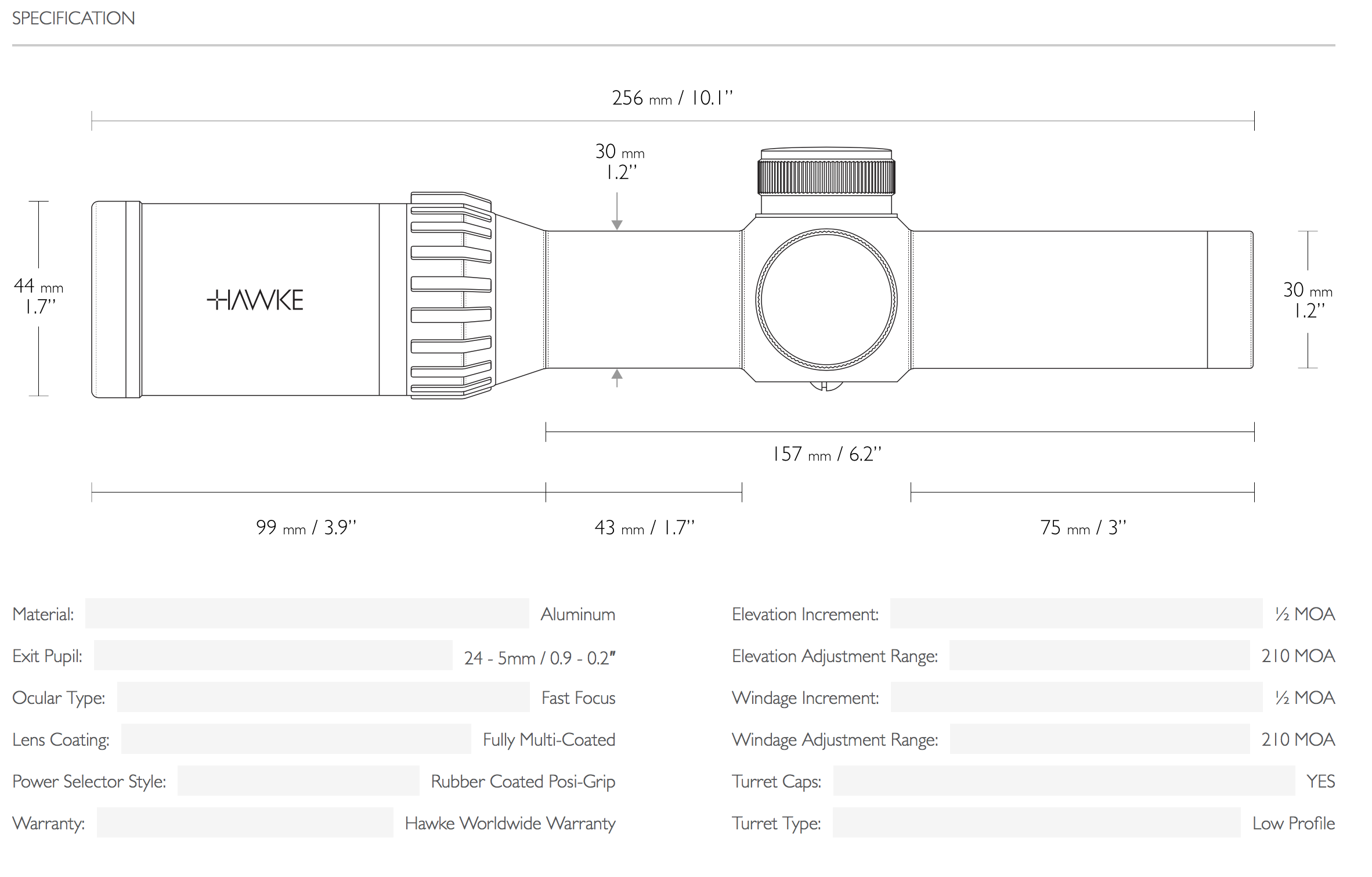 Hawke XB30 Specifications